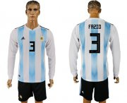 Wholesale Cheap Argentina #3 Fazio Home Long Sleeves Soccer Country Jersey