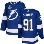 Cheap Adidas Lightning #91 Steven Stamkos Blue Home Authentic Youth 2020 Stanley Cup Champions Stitched NHL Jersey