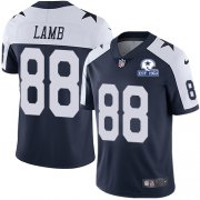 Wholesale Cheap Nike Cowboys #88 CeeDee Lamb Navy Blue Thanksgiving Men's Stitched With Established In 1960 Patch NFL Vapor Untouchable Limited Throwback Jersey
