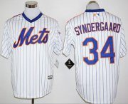 Wholesale Cheap Mets #34 Noah Syndergaard White(Blue Strip) Cool Base Cooperstown 25TH Stitched MLB Jersey
