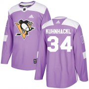 Wholesale Cheap Adidas Penguins #34 Tom Kuhnhackl Purple Authentic Fights Cancer Stitched NHL Jersey