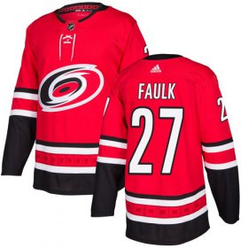 Wholesale Cheap Adidas Hurricanes #27 Justin Faulk Red Home Authentic Stitched Youth NHL Jersey