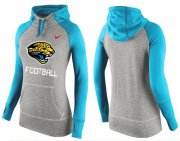 Wholesale Cheap Women's Nike Jacksonville Jaguars Performance Hoodie Grey & Blue