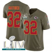 Wholesale Cheap Nike Chiefs #32 Tyrann Mathieu Olive Super Bowl LIV 2020 Men's Stitched NFL Limited 2017 Salute To Service Jersey
