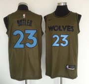 Wholesale Cheap Minnesota Timberwolves #23 Jimmy Butler Olive Nike Swingman Jersey