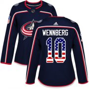Wholesale Cheap Adidas Blue Jackets #10 Alexander Wennberg Navy Blue Home Authentic USA Flag Women's Stitched NHL Jersey