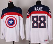 Wholesale Cheap Olympic Team USA #88 Patrick Kane White Captain America Fashion Stitched NHL Jersey