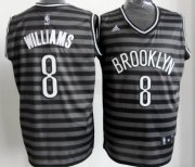 Wholesale Cheap Brooklyn Nets #8 Deron Williams Gray With Black Pinstripe Jersey