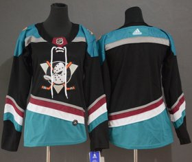 Wholesale Cheap Adidas Ducks Blank Black/Teal Alternate Authentic Women\'s Stitched NHL Jersey