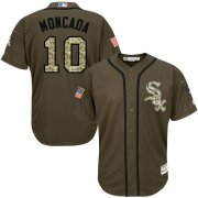 Wholesale Cheap White Sox #10 Yoan Moncada Green Salute to Service Stitched MLB Jersey