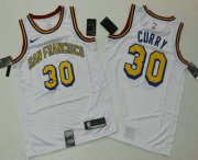 Wholesale Cheap Men's Golden State Warriors #30 Stephen Curry White 2019 Nike Swingman Printed NBA Jersey