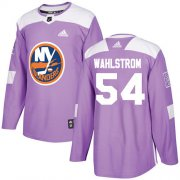 Wholesale Cheap Adidas Islanders #54 Oliver Wahlstrom Purple Authentic Fights Cancer Stitched NHL Jersey