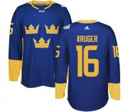 Wholesale Cheap Team Sweden #16 Marcus Kruger Blue 2016 World Cup Stitched NHL Jersey