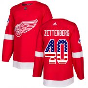 Wholesale Cheap Adidas Red Wings #40 Henrik Zetterberg Red Home Authentic USA Flag Stitched Youth NHL Jersey