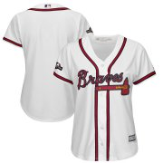 Wholesale Cheap Atlanta Braves Majestic Women's 2019 Postseason Official Cool Base Team Jersey White