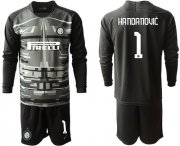 Wholesale Cheap Inter Milan #1 Handanovic Black Goalkeeper Long Sleeves Soccer Club Jersey
