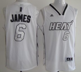 Wholesale Cheap Miami Heats #6 LeBron James White With Silvery Fashion Jersey