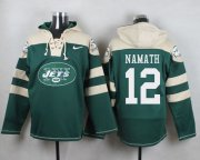 Wholesale Cheap Nike Jets #12 Joe Namath Green Player Pullover NFL Hoodie