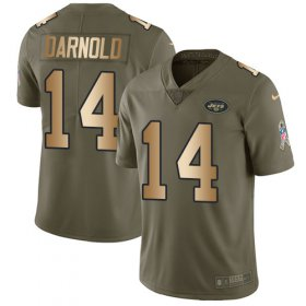 Wholesale Cheap Nike Jets #14 Sam Darnold Olive/Gold Youth Stitched NFL Limited 2017 Salute to Service Jersey
