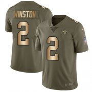 Wholesale Cheap Nike Saints #2 Jameis Winston Olive/Gold Youth Stitched NFL Limited 2017 Salute To Service Jersey