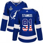 Cheap Adidas Lightning #91 Steven Stamkos Blue Home Authentic USA Flag Women's 2020 Stanley Cup Champions Stitched NHL Jersey