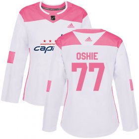 Wholesale Cheap Adidas Capitals #77 T.J. Oshie White/Pink Authentic Fashion Women\'s Stitched NHL Jersey