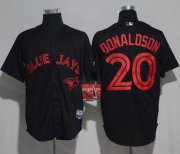 Wholesale Cheap Blue Jays #20 Josh Donaldson Black Strip Stitched MLB Jersey