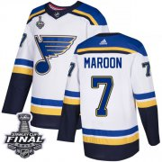 Wholesale Cheap Adidas Blues #7 Patrick Maroon White Road Authentic 2019 Stanley Cup Final Stitched NHL Jersey