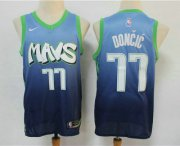 Wholesale Cheap Men's Dallas Mavericks #77 Luka Doncic Blue 2020 Nike City Edition Swingman Jersey