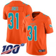 Wholesale Cheap Nike Dolphins #31 Byron Jones Orange Youth Stitched NFL Limited Inverted Legend 100th Season Jersey