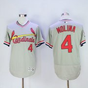 Wholesale Cheap Cardinals #4 Yadier Molina Grey Flexbase Authentic Collection Cooperstown Stitched MLB Jersey