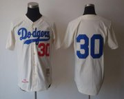Wholesale Cheap Mitchell And Ness 1962 Dodgers #30 Maury Wills Cream Stitched Throwback MLB Jersey