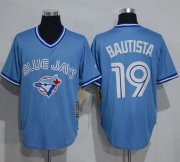 Wholesale Cheap Blue Jays #19 Jose Bautista Light Blue Cooperstown Throwback Stitched MLB Jersey