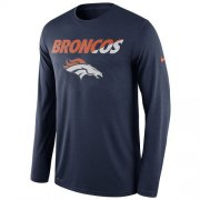 Wholesale Cheap Men's Denver Broncos Nike Navy Legend Staff Practice Long Sleeves Performance T-Shirt