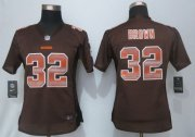 Wholesale Cheap Nike Browns #32 Jim Brown Brown Team Color Women's Stitched NFL Elite Strobe Jersey