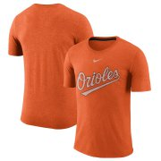 Wholesale Cheap Baltimore Orioles Nike Wordmark Tri-Blend T-Shirt Orange