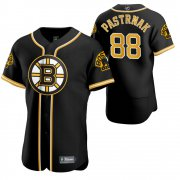 Wholesale Cheap Boston Bruins #88 David Pastrnak Men's 2020 NHL x MLB Crossover Edition Baseball Jersey Black