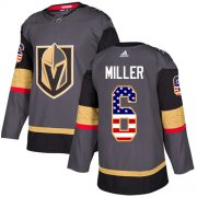 Wholesale Cheap Adidas Golden Knights #6 Colin Miller Grey Home Authentic USA Flag Stitched NHL Jersey