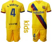 Wholesale Cheap Barcelona #4 I.Rakitic Away Kid Soccer Club Jersey