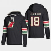 Wholesale Cheap New Jersey Devils #18 Drew Stafford Black adidas Lace-Up Pullover Hoodie