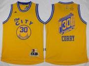 Wholesale Cheap Men's Golden State Warriors #30 Stephen Curry Revolution 30 Swingman 2015-16 Retro Yellow Jersey