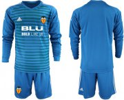 Wholesale Cheap Valencia Blank Blue Goalkeeper Long Sleeves Soccer Club Jersey