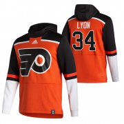 Wholesale Cheap Philadelphia Flyers #34 Alex Lyon Adidas Reverse Retro Pullover Hoodie Orange
