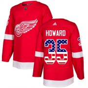 Wholesale Cheap Adidas Red Wings #35 Jimmy Howard Red Home Authentic USA Flag Stitched Youth NHL Jersey