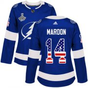 Cheap Adidas Lightning #14 Pat Maroon Blue Home Authentic USA Flag Women's 2020 Stanley Cup Champions Stitched NHL Jersey