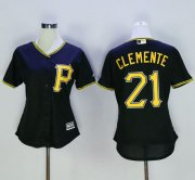 Wholesale Cheap Pirates #21 Roberto Clemente Black Women's Alternate Stitched MLB Jersey