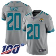 Wholesale Cheap Nike Jaguars #20 Jalen Ramsey Silver Men's Stitched NFL Limited Inverted Legend 100th Season Jersey
