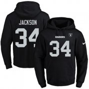 Wholesale Cheap Nike Raiders #34 Bo Jackson Black Name & Number Pullover NFL Hoodie