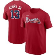 Wholesale Cheap Atlanta Braves #13 Ronald Acuna Jr. Nike Name & Number T-Shirt Red