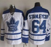 Wholesale Cheap Maple Leafs #64 Stanley Cup White CCM Throwback Third Stitched NHL Jersey